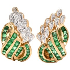 1980s Emerald Diamond Yellow Gold Clip-Back Earrings