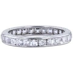 3.25 Carat Carre Cut Diamond Wedding Band