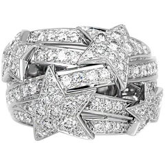 Chanel White Gold Diamond Star Dome Ring