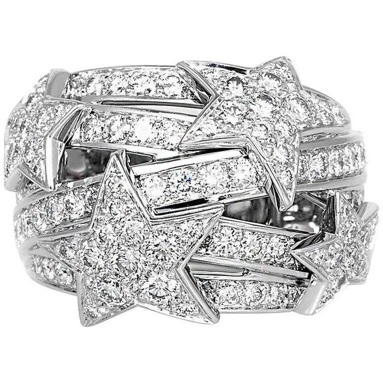 Chanel White Gold Diamond Star Dome Ring