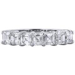 1.12 Carat Square Emerald Cut Diamond Band Ring