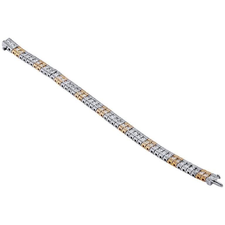 7.77 Carat Princess Cut and Round Cut Diamond Link Bracelet