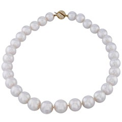 South Sea Pearl Necklace with 0.75 Carat Diamond Yellow Gold Clasp