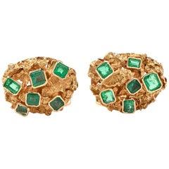 1970s Emerald 18 Karat Yellow Gold Nugget Men Cufflinks