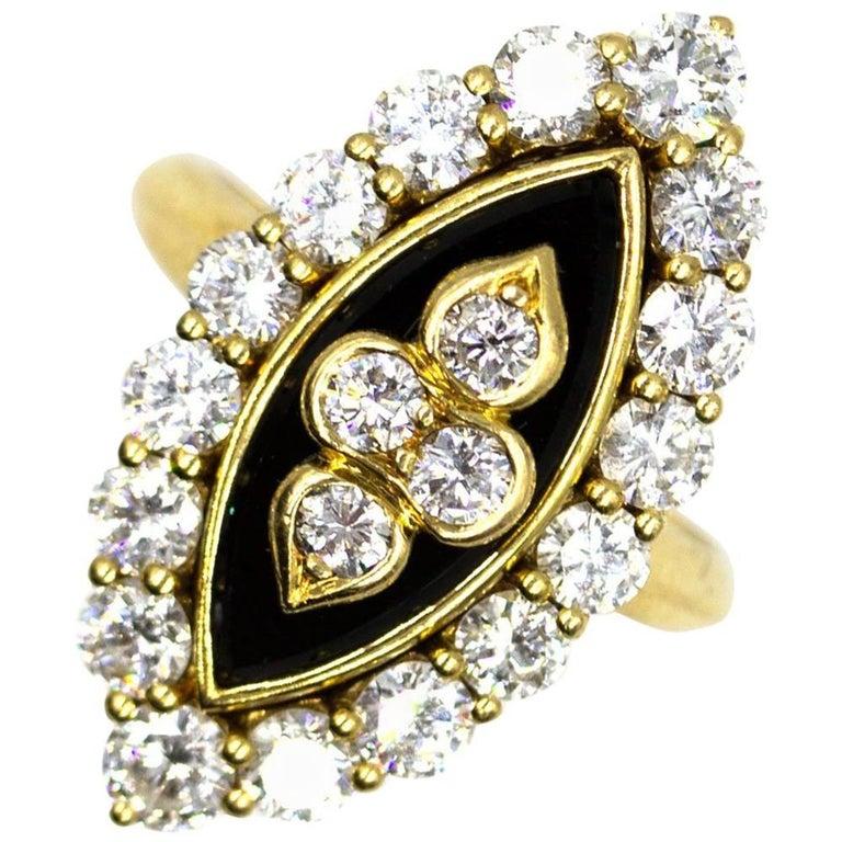 Van Cleef & Arpels Diamond Onyx Vintage Ring For Sale