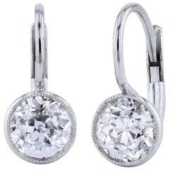 H & H 1.59 Carat Diamond Lever-Back Earrings