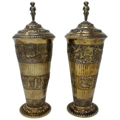 Covered Vases with Removable Lids, Gilt Silver, German in 17th Century Style