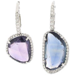 Pair of Amoeba Sapphire Earrings Set in Platinum with Diamonds