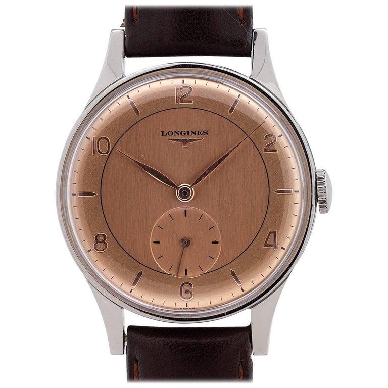 Longines Stainless Steel salmon dial Manual Wristwatch, circa 1950s