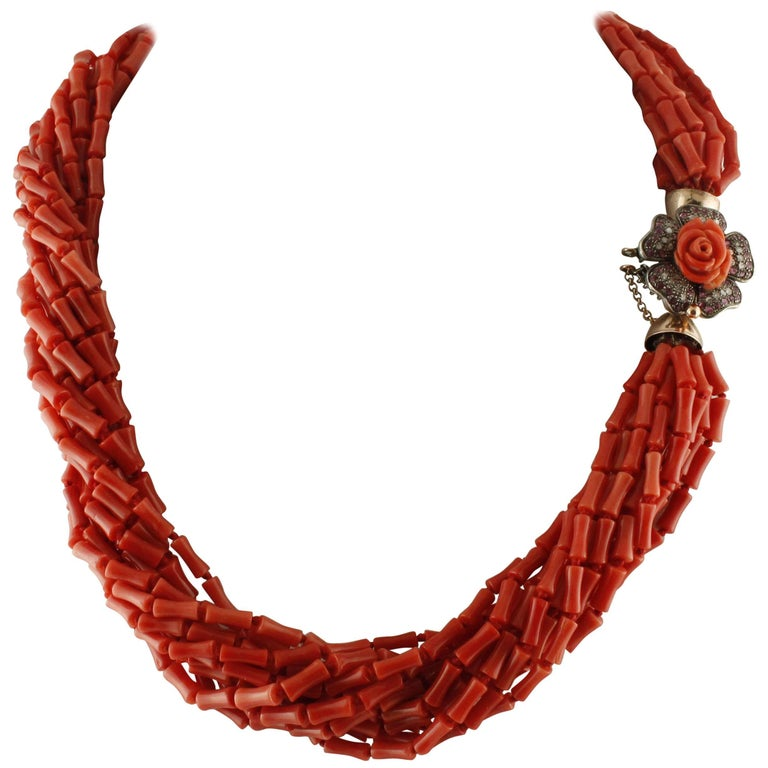 Coral Rubies Diamonds Rose Gold Silver Multi-Strand Necklace