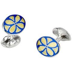 Deakin & Francis Sterling Silver Royal Blue & Bright Yellow Fancy Pattern Enamel