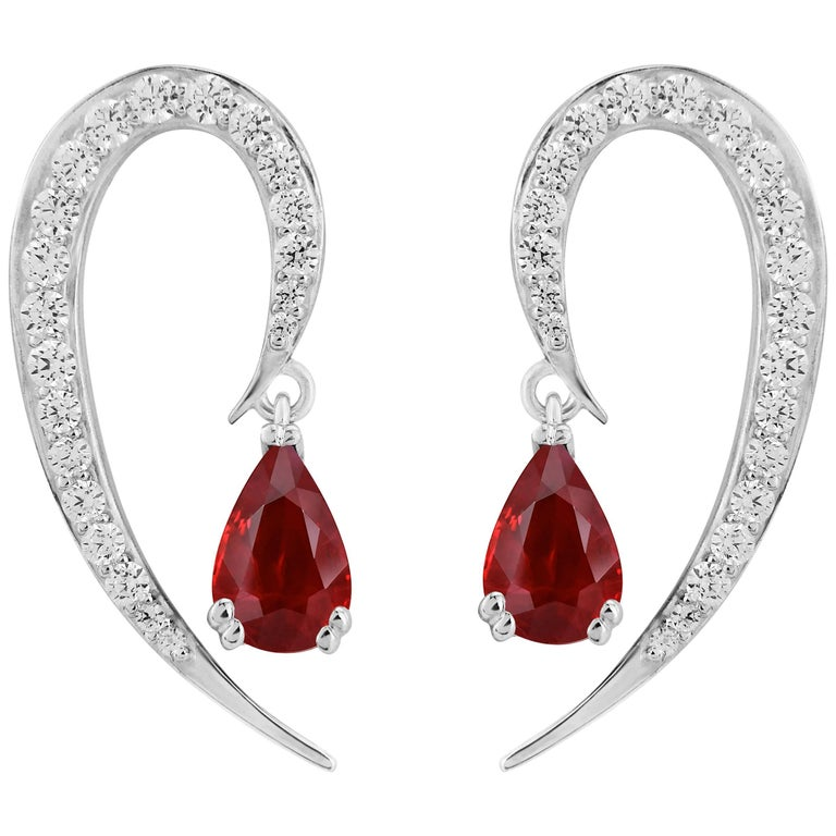 Liv Luttrell Full Curve White Gold and Diamond Ruby Earrings