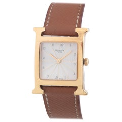 Hermès Gold-Plated Heure H quartz Wristwatch Ref HH1.501