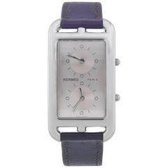 Hermès Stainless Steel Cape Cod Dual Time Quartz Wristwatch