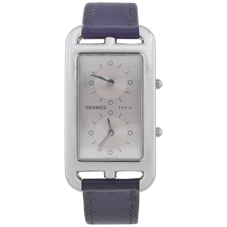 Hermès Stainless Steel Cape Cod Dual Time Quartz Wristwatch