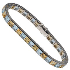 19.0 Carat Imperial Topaz and Aquamarine Tennis Bracelet