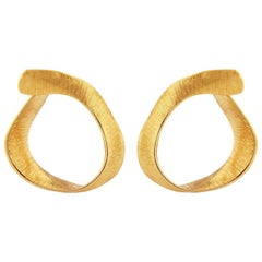 Liv Luttrell Twist Hoop Silk Engraved Rose Gold Earrings