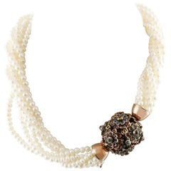 Multicolor Sapphires  Pearls Rose Gold Silver Necklace
