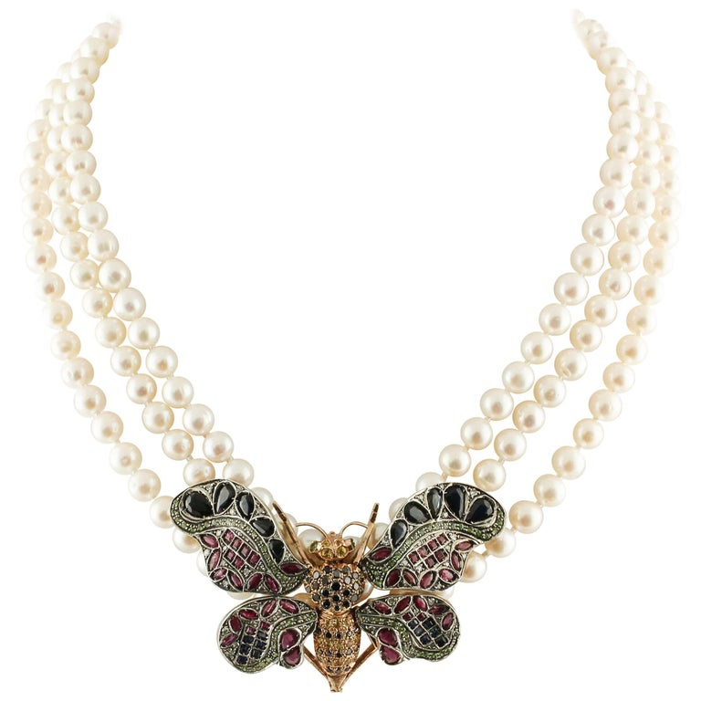 Pearls Tzavorite Diamonds Rubies Sapphires Rose Gold Silver Butterfly Necklace