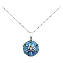 18 Karat White Gold Garavelli Pendant with Chain and Blue Topaz and Diamonds