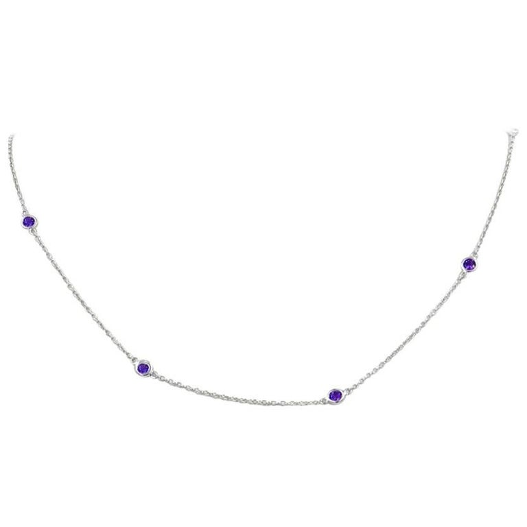 18 Karat White Gold Garavelli Necklace with Amethysts