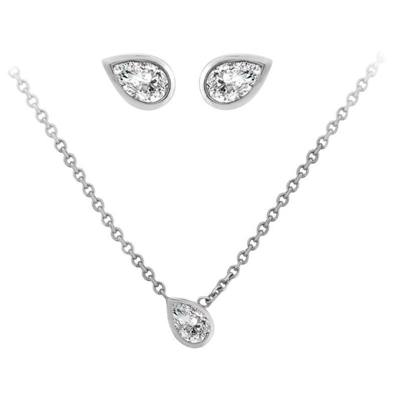 Liv Luttrell Pear White Diamonds and Gold Stud Earrings and Pendant Necklace