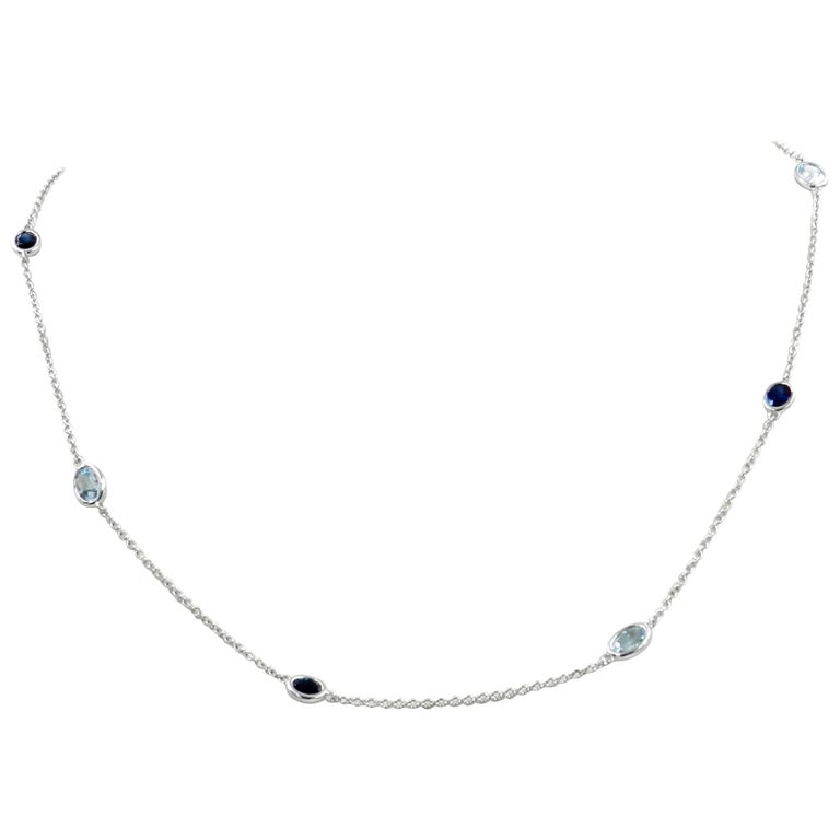 18 Karat White Gold Garavelli Chain with Blue Topaz and Blue Sapphires For Sale