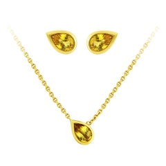 Liv Luttrell Pear Yellow Sapphire and Gold Stud Earrings and Pendant Necklace