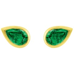 Liv Luttrell Yellow Gold Pear Emerald Stud Earrings