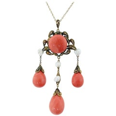 Antique Victorian Coral and Pearl Necklace