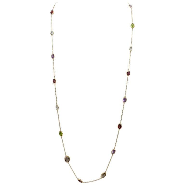 18 Karat Gold Garavelli Necklace Withquartz, Peridot, Bluetopaz, Amethys, Garnet