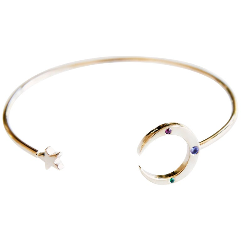 Love Bracelet moon Star bangle with Emerald Ruby and Tanzanite