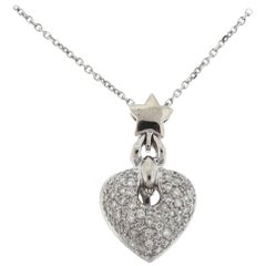 18 Karat White Gold Pave Diamond Heart Pendant Necklace