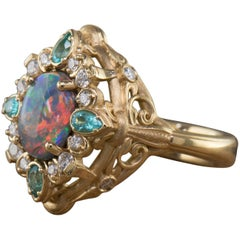 1.70 Carat Black Opal, Tourmaline and Diamond Ring in 18 Karat Yellow Gold