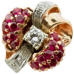 Retro 1940s Ruby and Diamond Ring in Rose Gold and Platinum