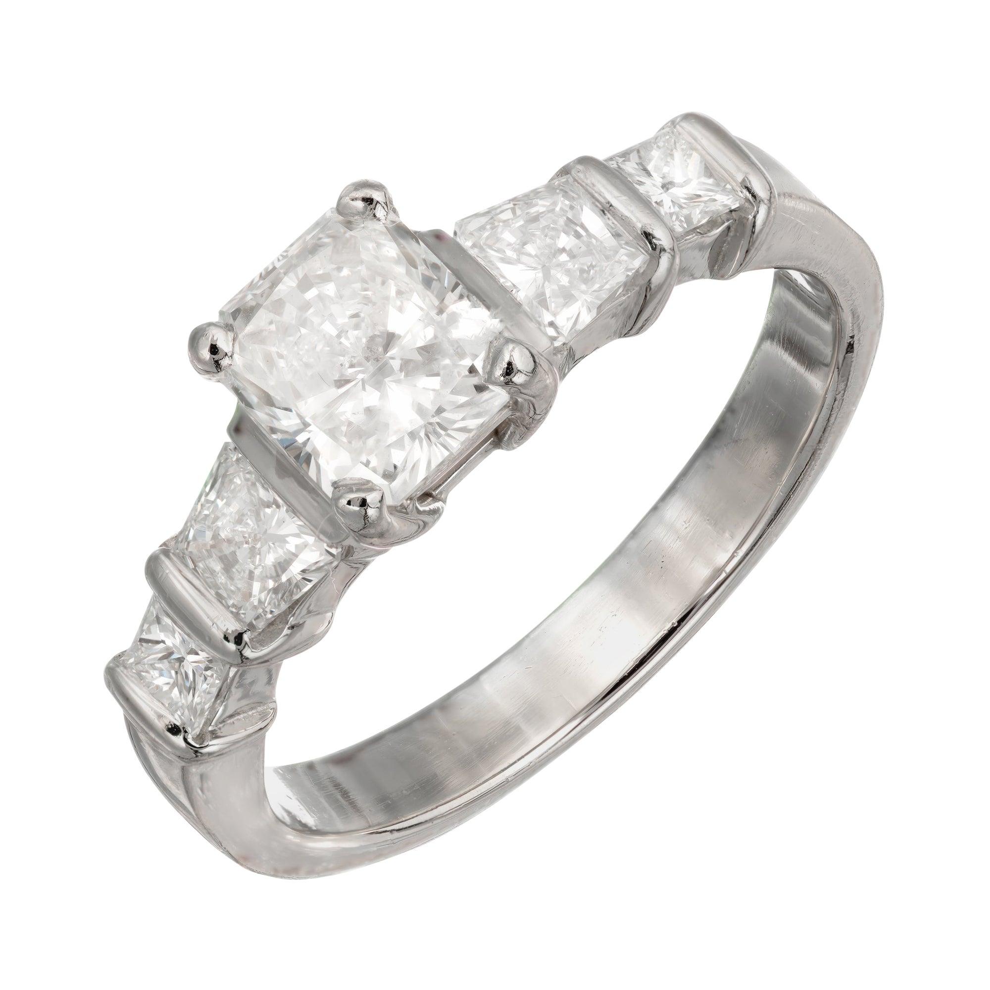 GIA Certified 1.01 Carat Radiant Cut Diamond Platinum Engagement Ring