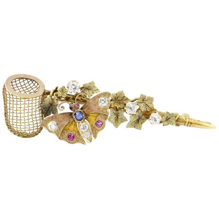 Victorian Gold Old Mine Diamond Ruby and Sapphire Butterfly Net Ivy Brooch