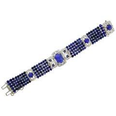 Art Deco Star Sapphire Diamond Platinum Bracelet