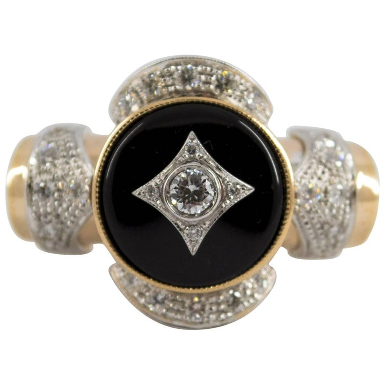 Renaissance Style 0.75 Carat Diamond Onyx Yellow Gold Cocktail Ring For Sale