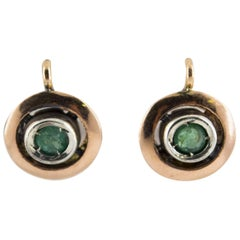 0.20 Carat Emerald Yellow Gold Sterling Silver Lever-Back Earrings