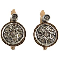 Renaissance Style 0.40 Carat Diamond Yellow Gold Lever-Back Earrings