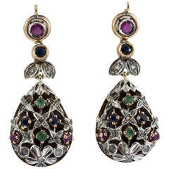 1.10 Carat Emerald Ruby Sapphire Diamond Yellow Gold Lever-Back Earrings