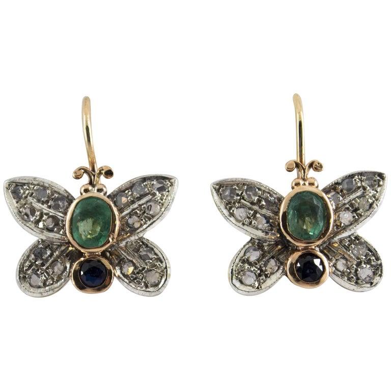 "1.20 Carat Sapphire Emerald Diamond Yellow Gold ""Butterfly"" Earrings"
