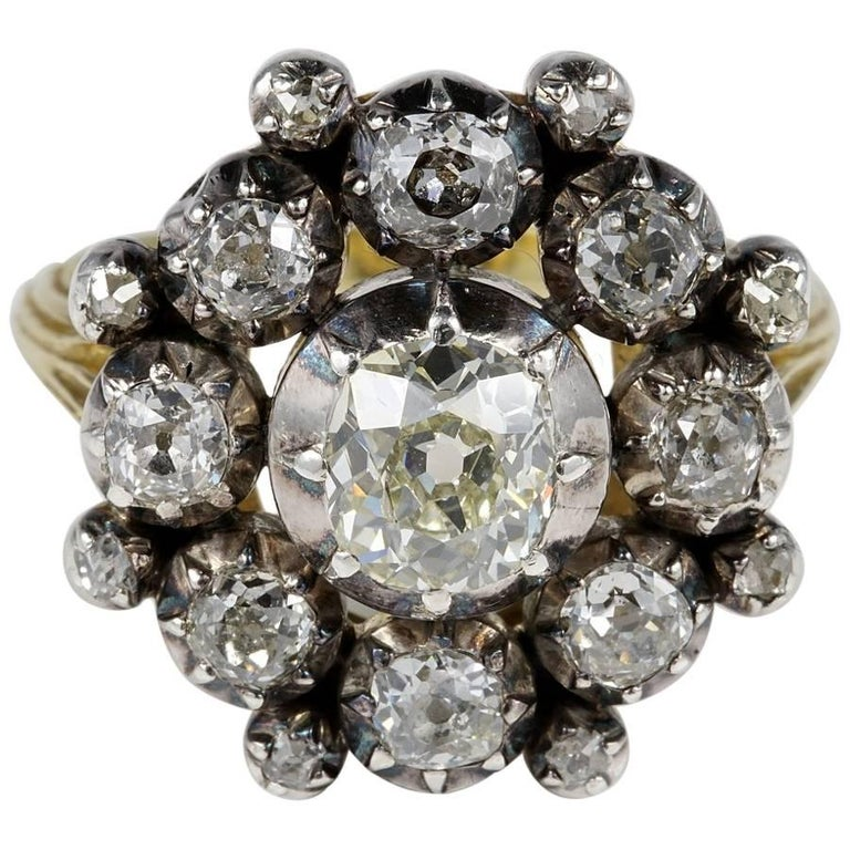 Antique 3.30 Carat Old Mine Diamond Magnificent Cluster Ring