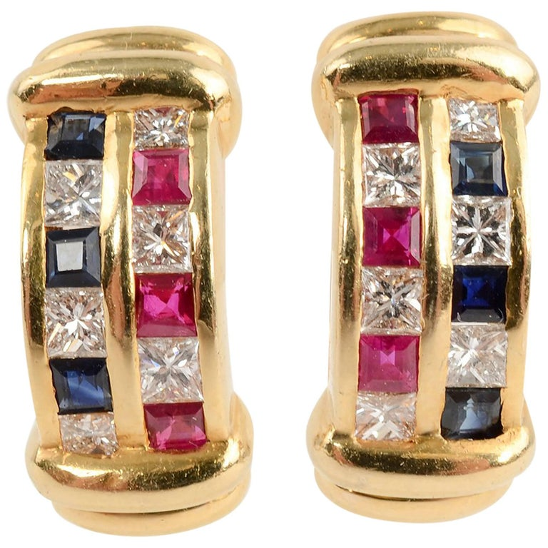 Ruby, Diamond, Sapphire Half Hoop Gold Earrings