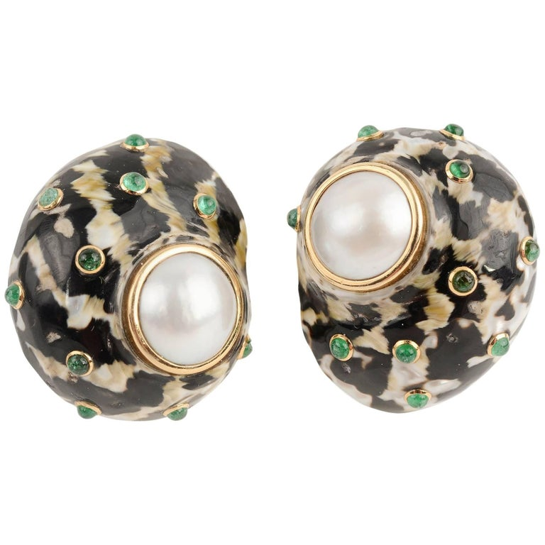Trianon Large Shell Earrings with Mabe Pearl and Emeralds