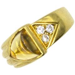 Cartier Vintage Diamond Citrine 18 Karat Yellow Gold Ring