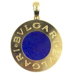 Bvlgari Reversible 18 Karat Yellow Gold Stainless Steel Lapis Onyx Pendant