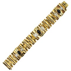 French Retro Diamond Sapphire 18 Karat Yellow Gold Heavy Link Bracelet
