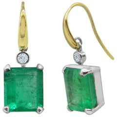 4.94 Carat Colombian Emerald and Diamond Drop Earrings